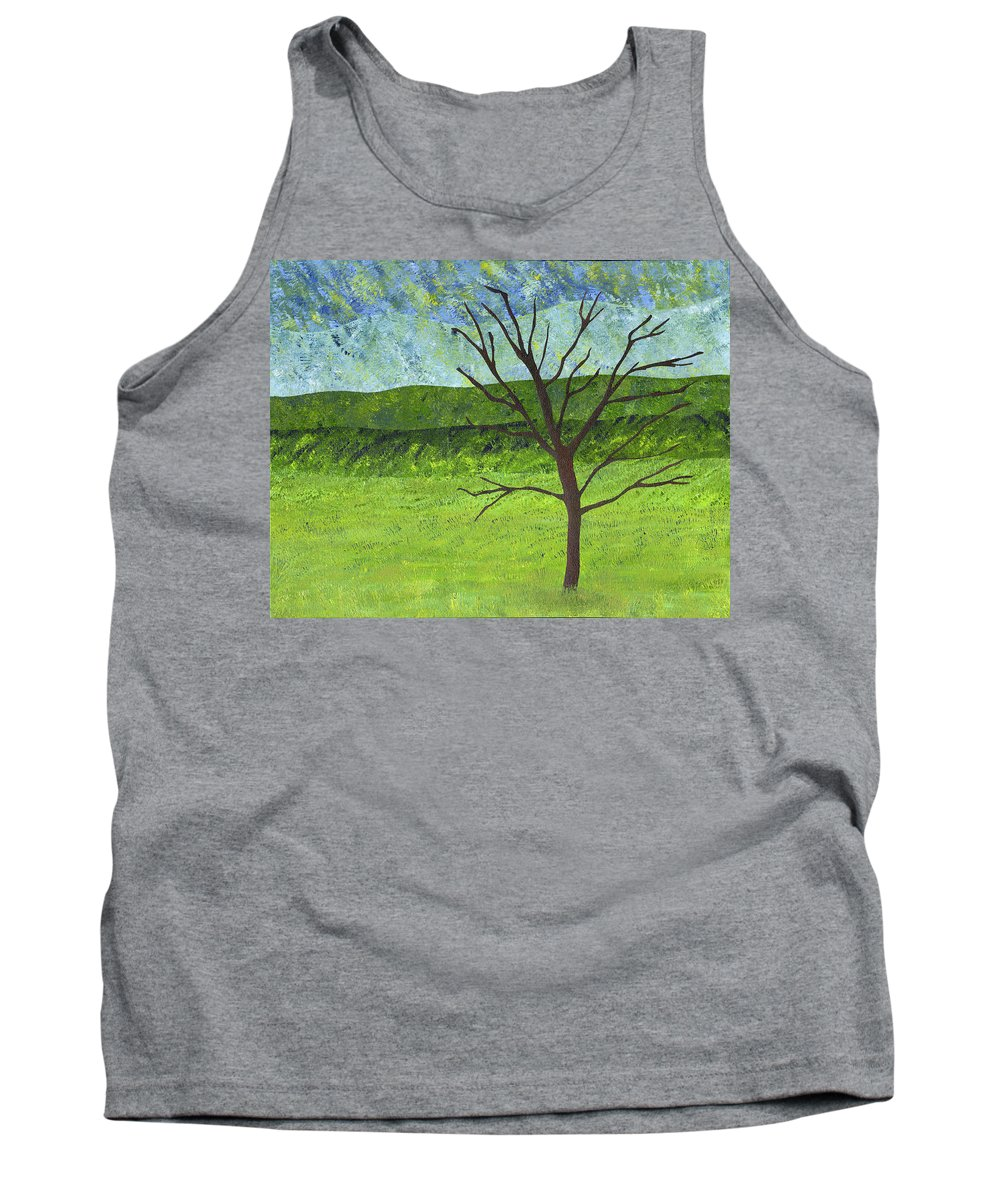 Tree Tank Top featuring the painting Tree No Leaves by Sean Corcoran