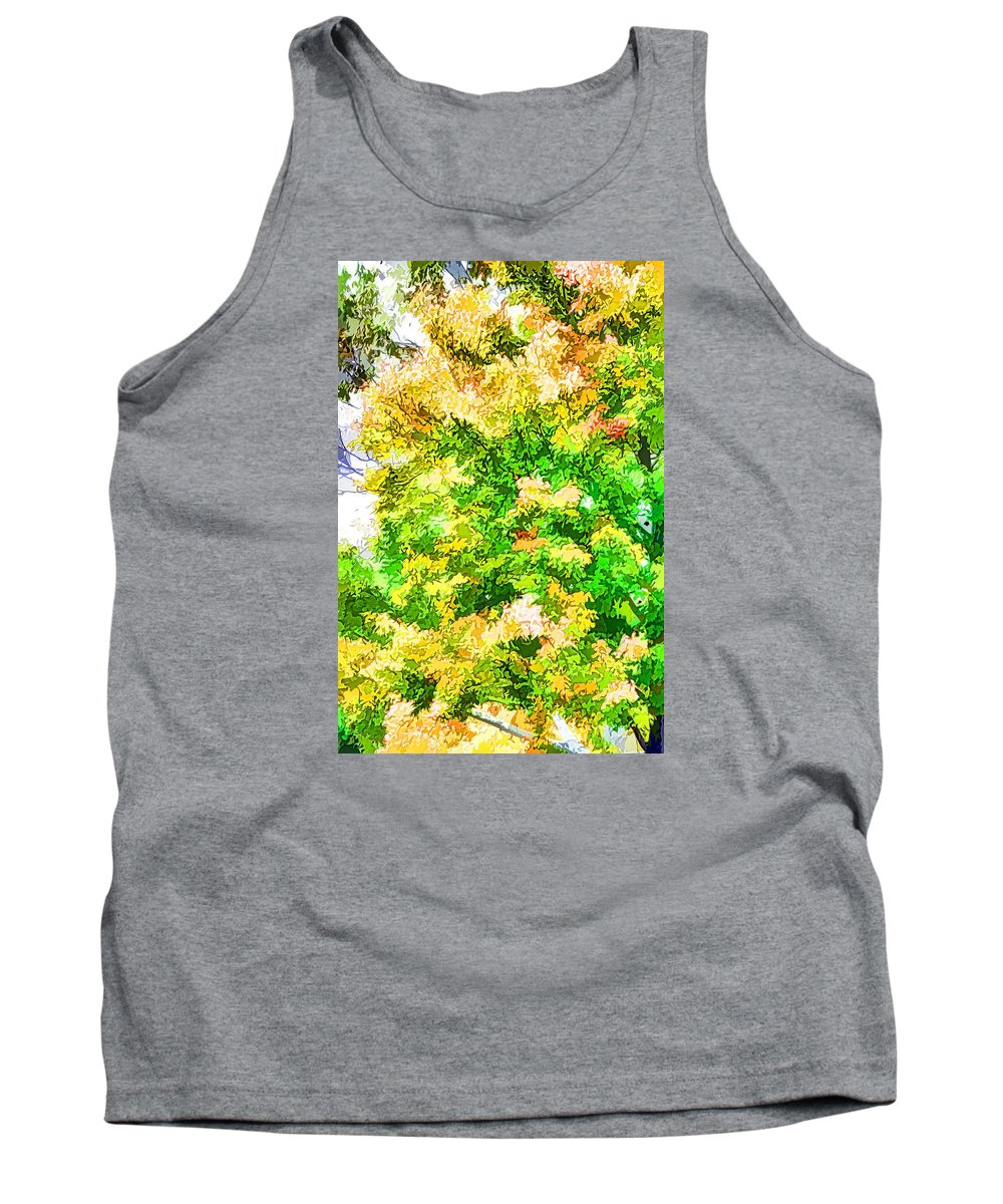 Trees And Leaves Tank Top featuring the painting Trees And Leaves by Jeelan Clark