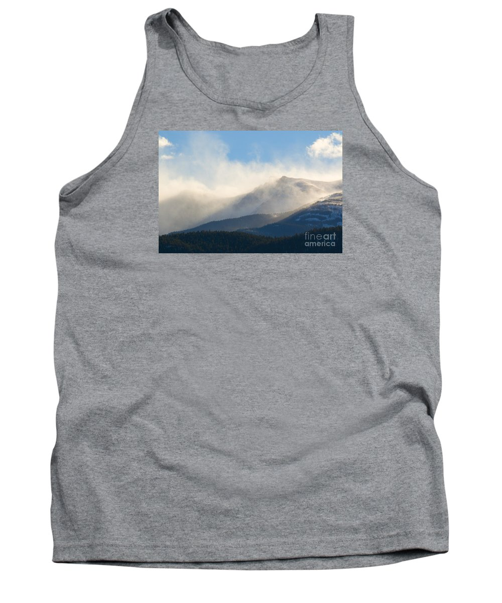 Pikes Peak Tank Top featuring the photograph Tremendous Wind Storm On Pikes Peak Colorado by Steve Krull
