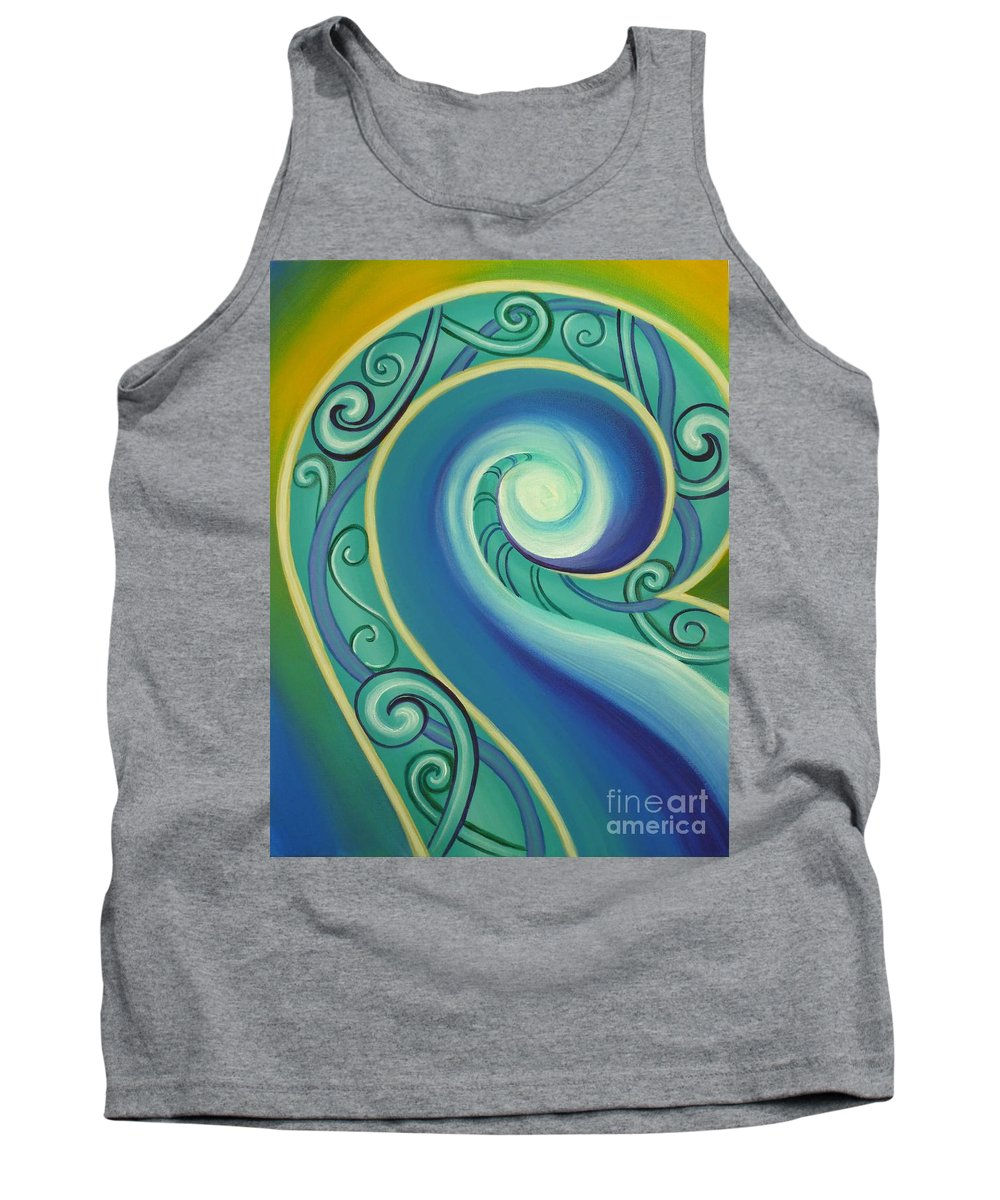 reina Cottier Tank Top featuring the painting Tribal Ocean by Reina Cottier