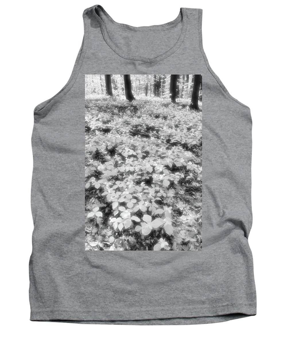 Abstract Tank Top featuring the photograph Trilliums On The Forest Floor Bw by Lyle Crump