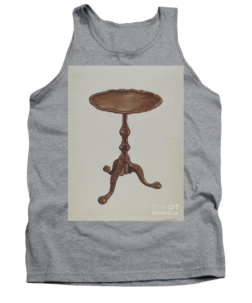 Tank Top featuring the drawing Tripod Table by A. Zaidenberg