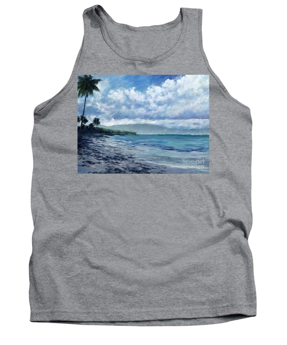 Seascape Tank Top featuring the painting Tropical Rain by Danielle Perry