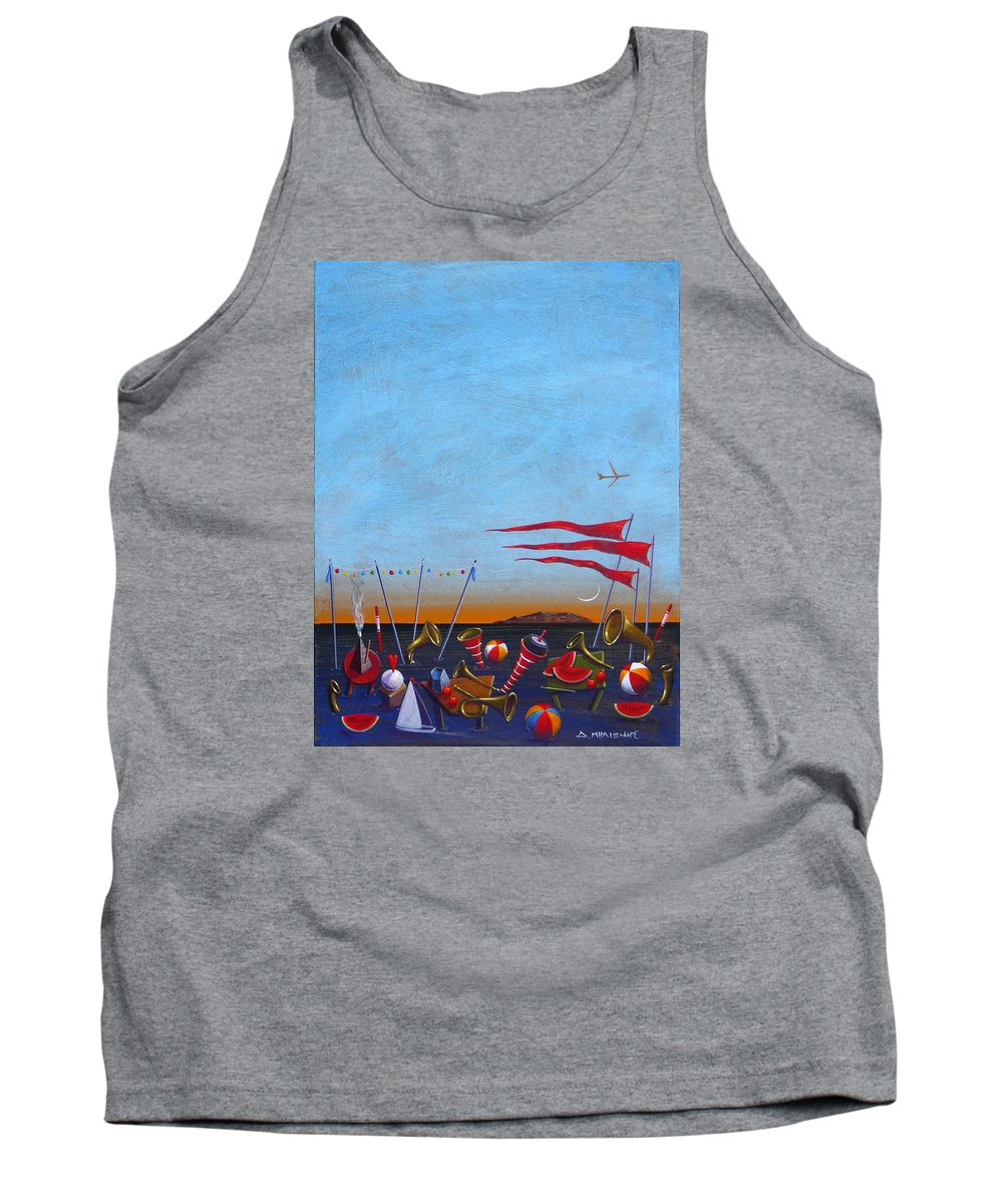 Piano Tank Top featuring the painting Trumpets Of The Mediterranean by Dimitris Milionis
