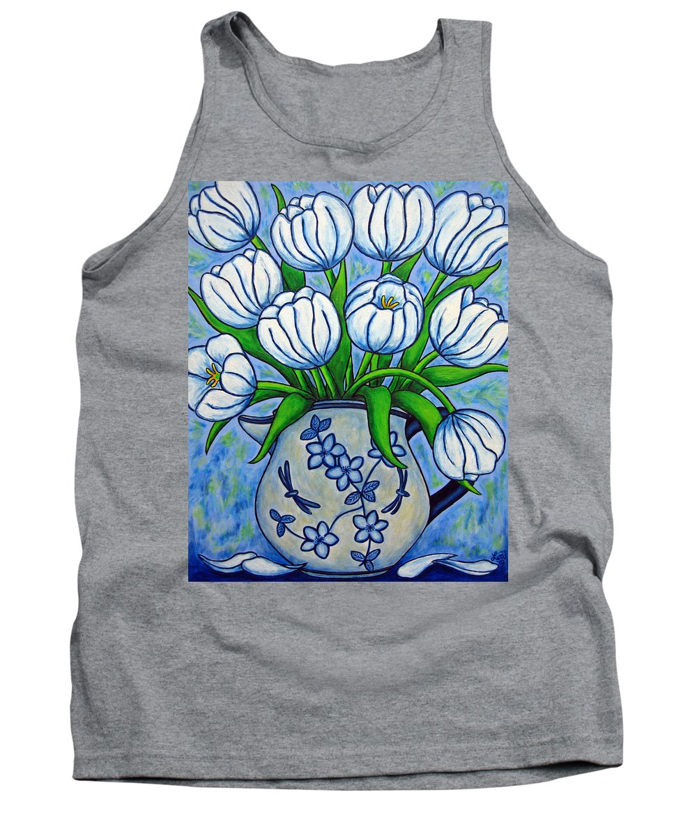 Flower Tank Top featuring the painting Tulip Tranquility by Lisa Lorenz