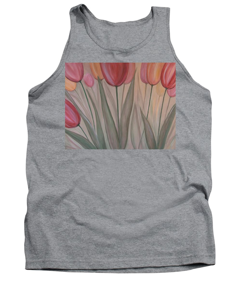 Tulips Tank Top featuring the painting Tulips For Carol by Anita Burgermeister