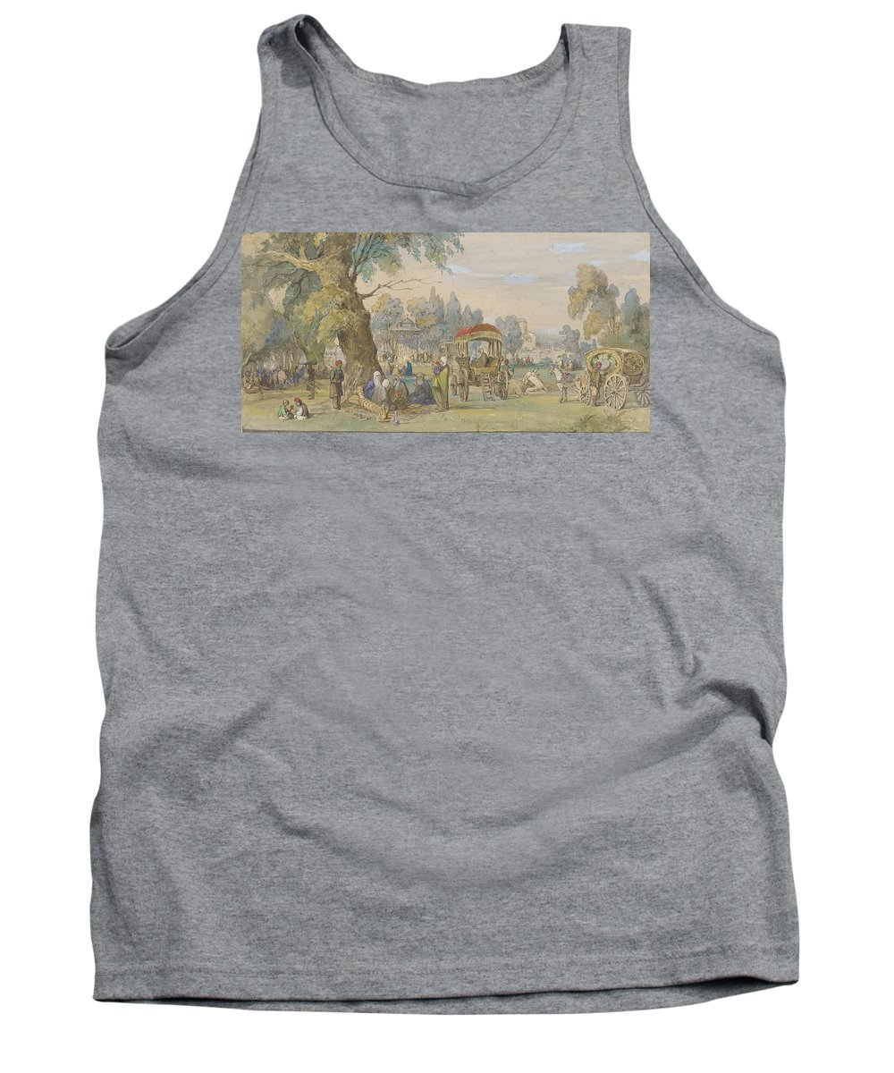 Amedeo Preziosi - In A Turkish Park. Trees Tank Top featuring the painting Turkish Park by MotionAge Designs