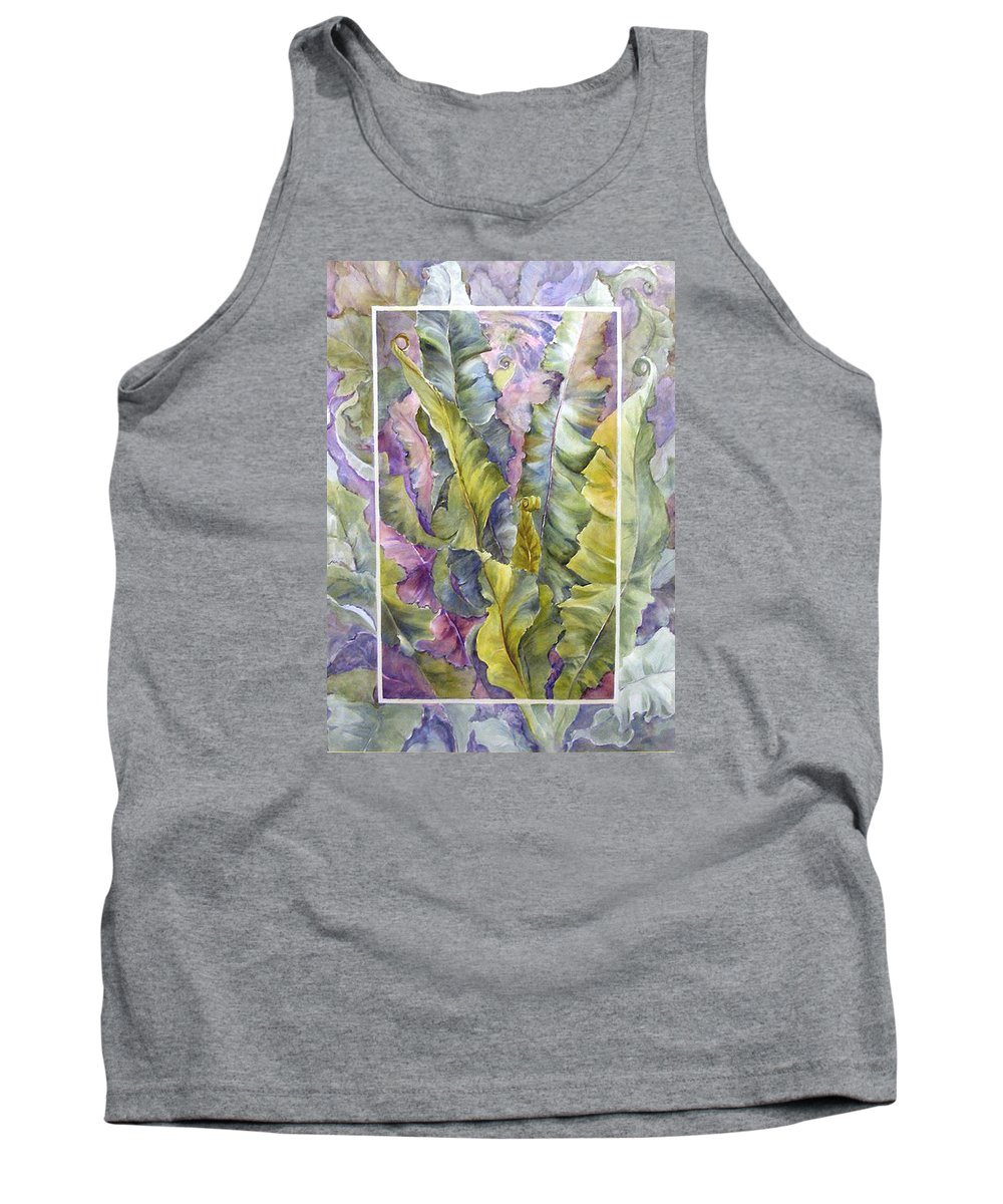 Ferns;floral; Tank Top featuring the painting Turns Of Ferns by Lois Mountz