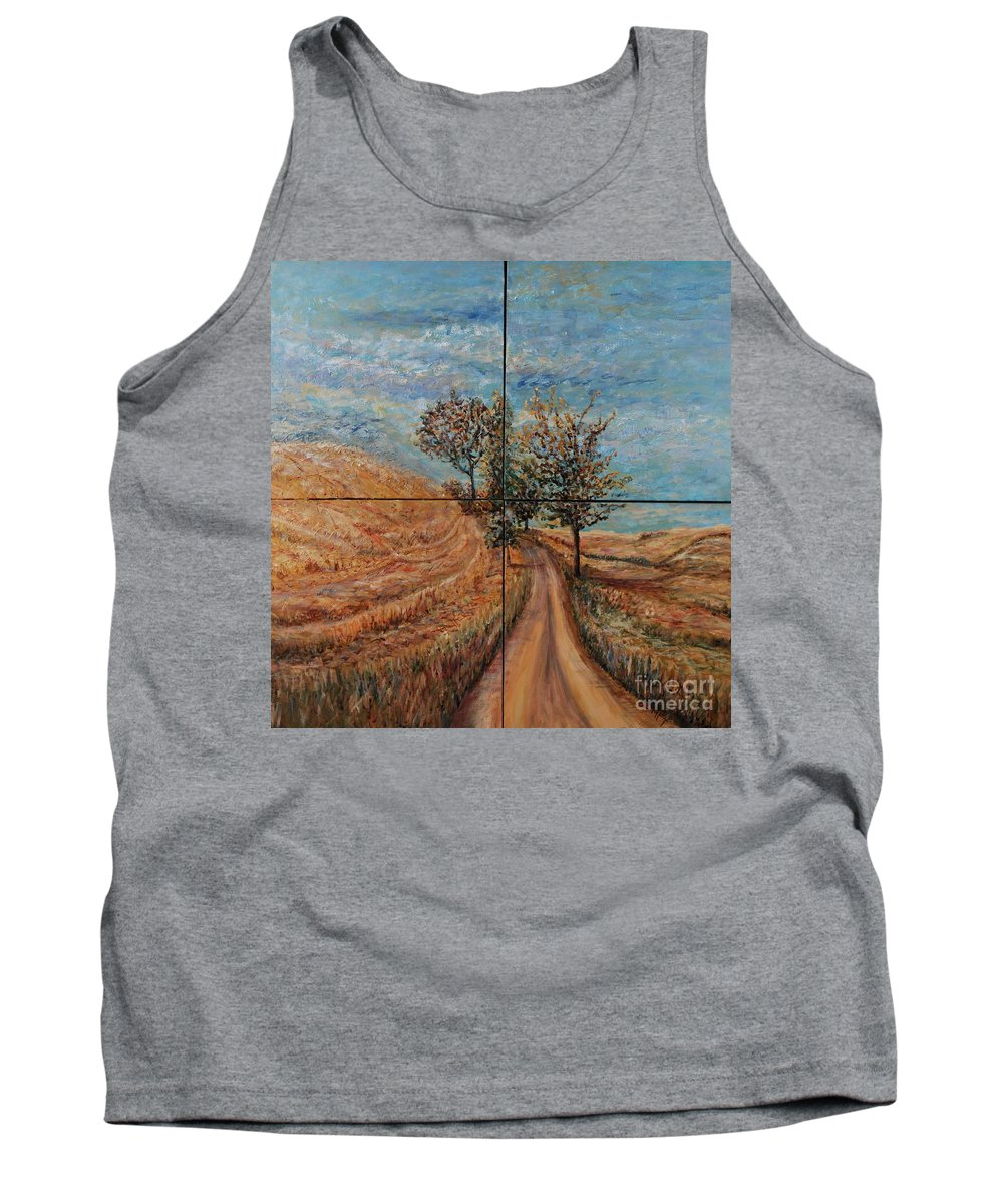 Landscape Tank Top featuring the painting Tuscan Journey by Nadine Rippelmeyer