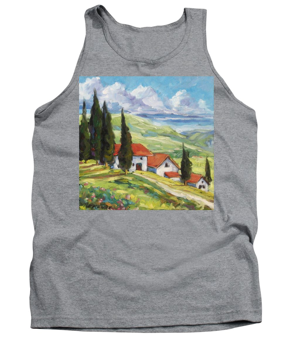 Tuscan Tank Top featuring the painting Tuscan Villas by Richard T Pranke
