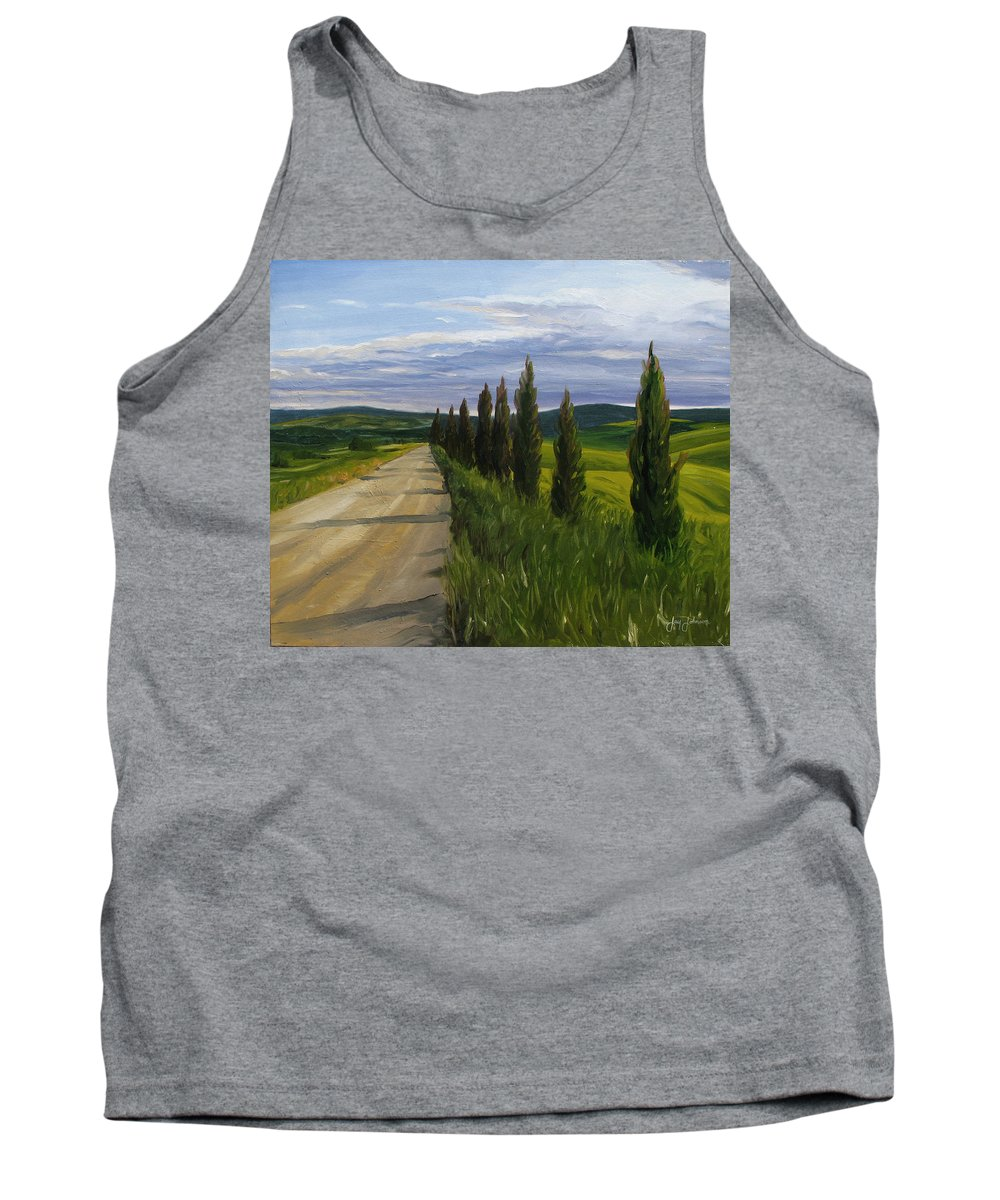 Tank Top featuring the painting Tuscany Road by Jay Johnson
