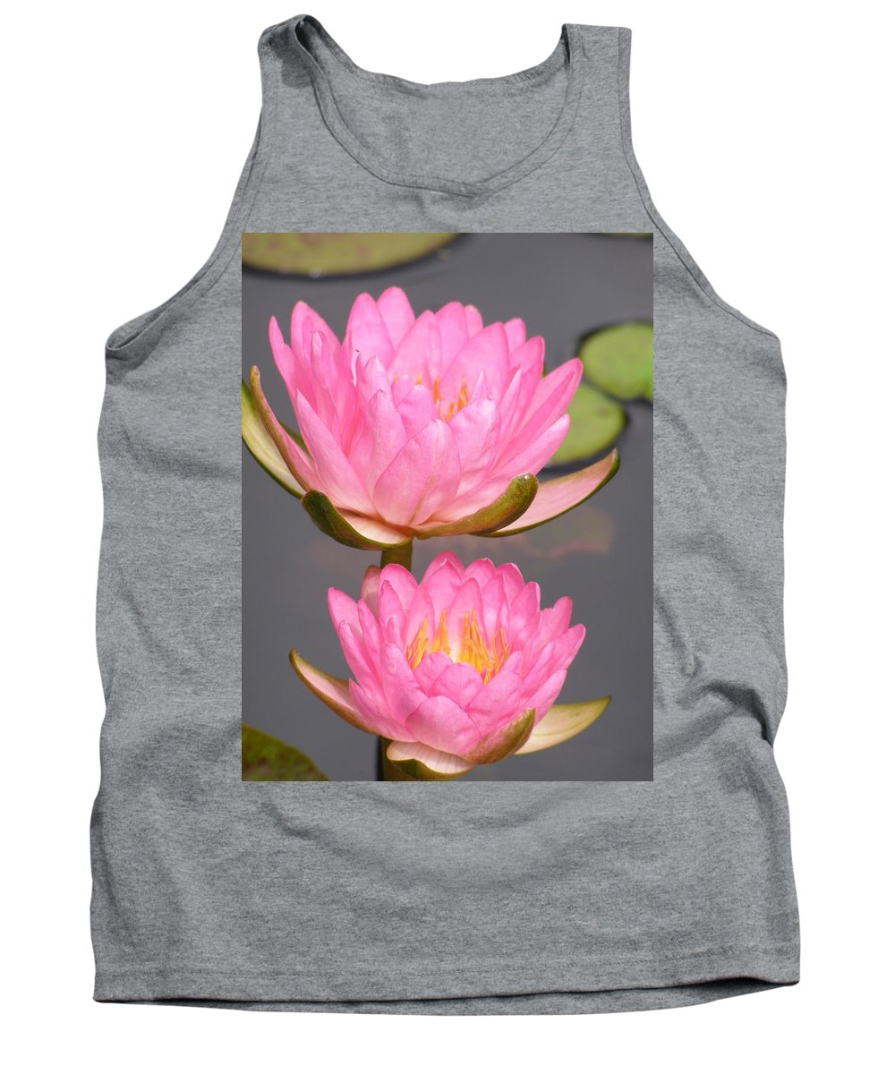 Water Lily Tank Top featuring the photograph Twins In Pink by Larry Lacy