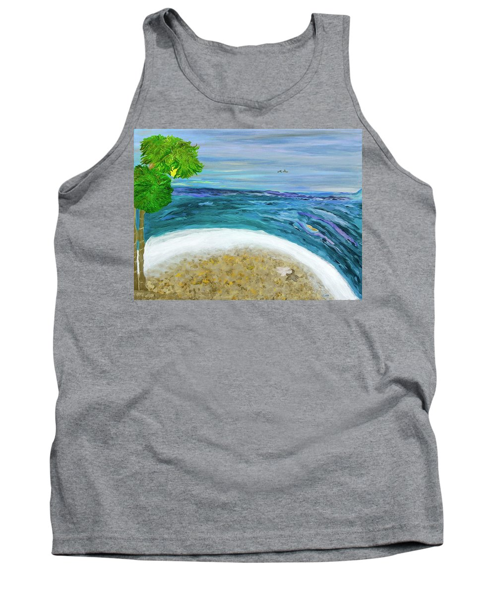 Beach Scene Tank Top featuring the painting Two By Two At Midnight Blue by Sara Credito