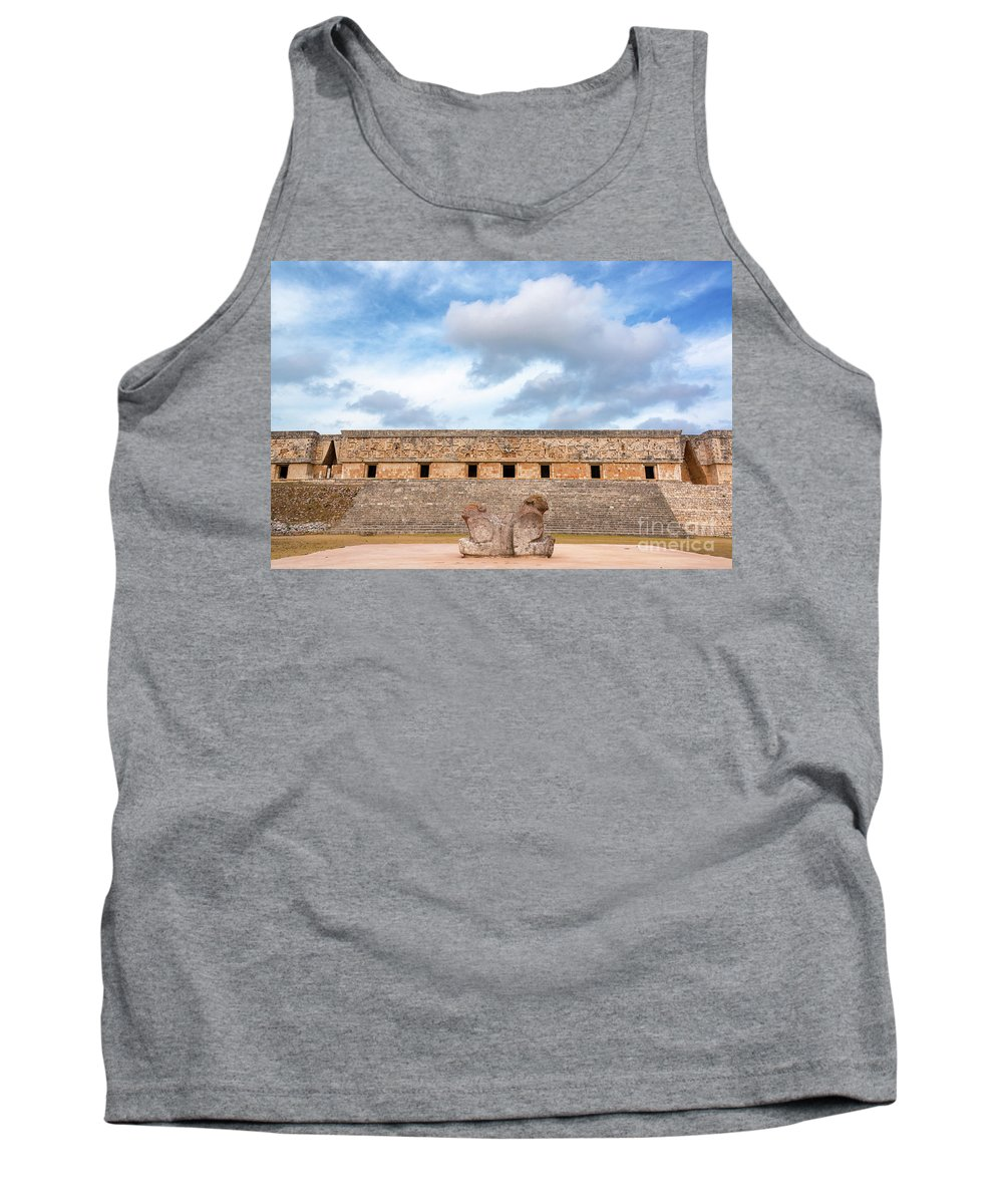 Mexico Tank Top featuring the photograph Two Headed Statue And Governors Palace by Jess Kraft