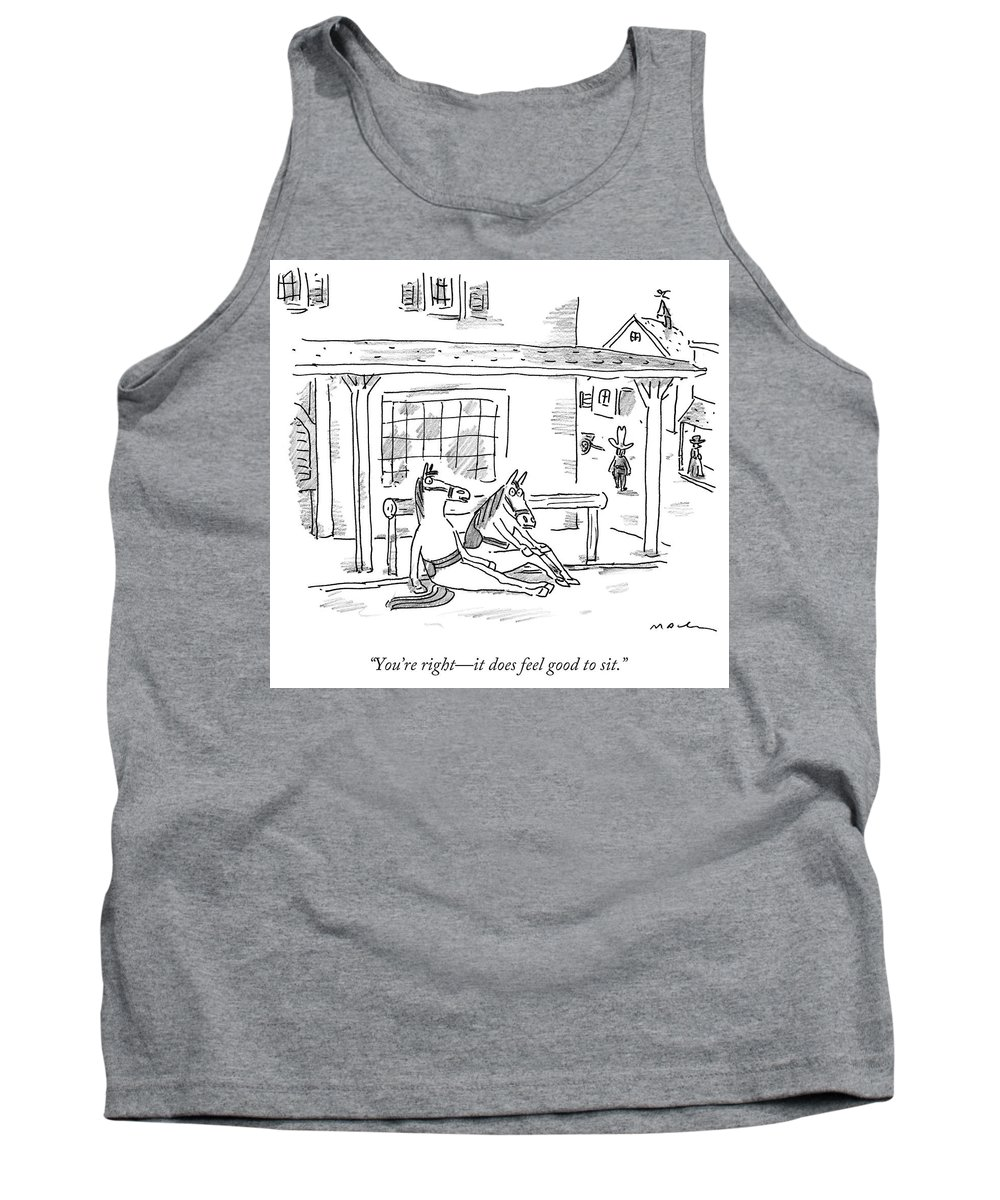 Horse Tank Top featuring the drawing Two Horses Sit. by Michael Maslin