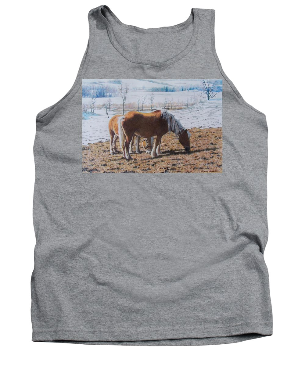 Horses Tank Top featuring the mixed media Two Ponies In The Snow by Constance Drescher