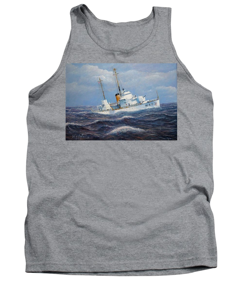 Marine Art Tank Top featuring the painting U. S. Coast Guard Cutter Sebago Takes A Roll by William H RaVell III
