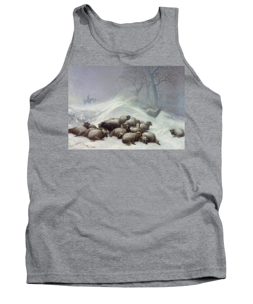 Wintry Tank Top featuring the painting Under The Shelter Of The Shapeless Drift by Thomas Sidney Cooper
