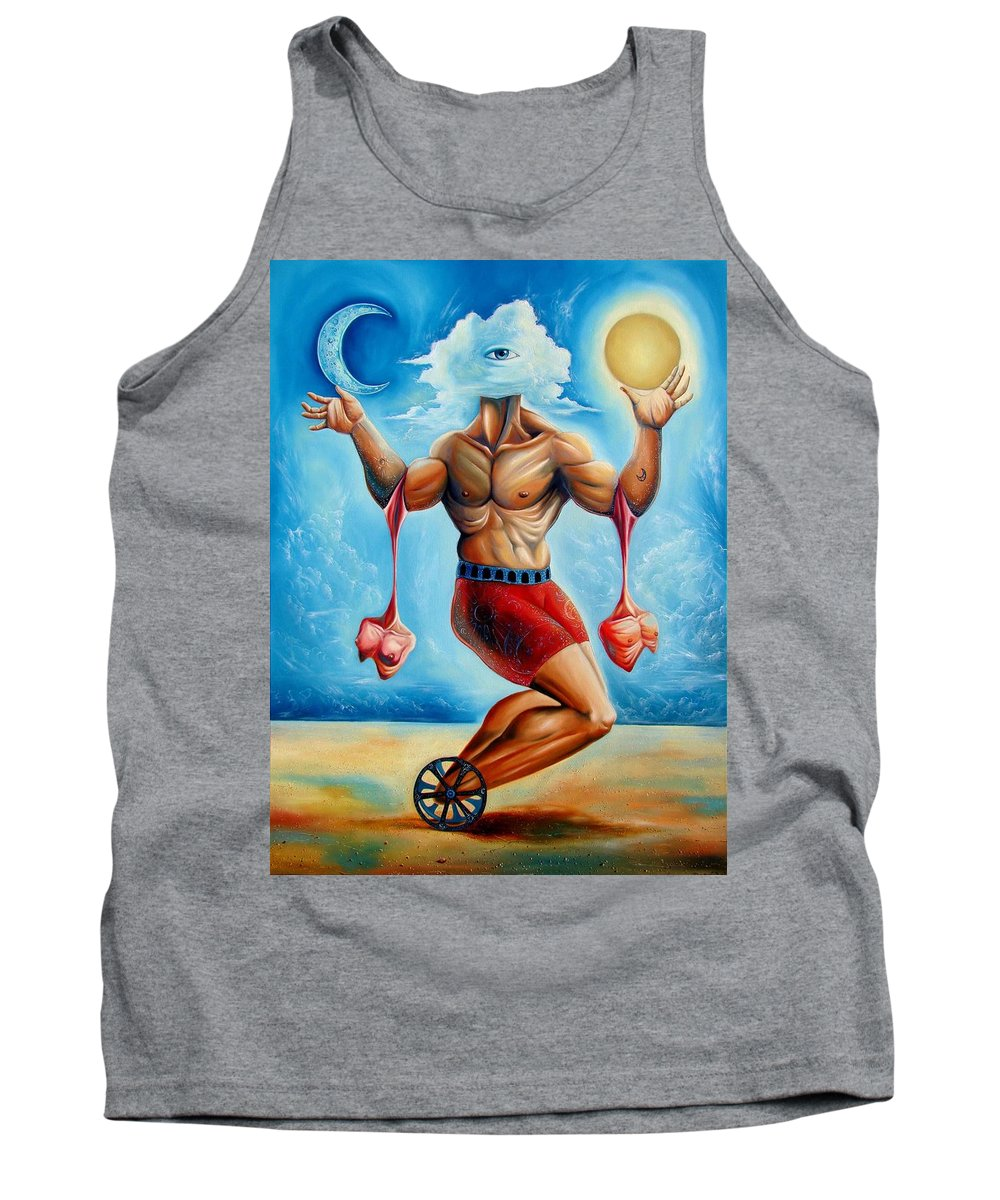 Surrealism Tank Top featuring the painting Universal Acrobat by Darwin Leon