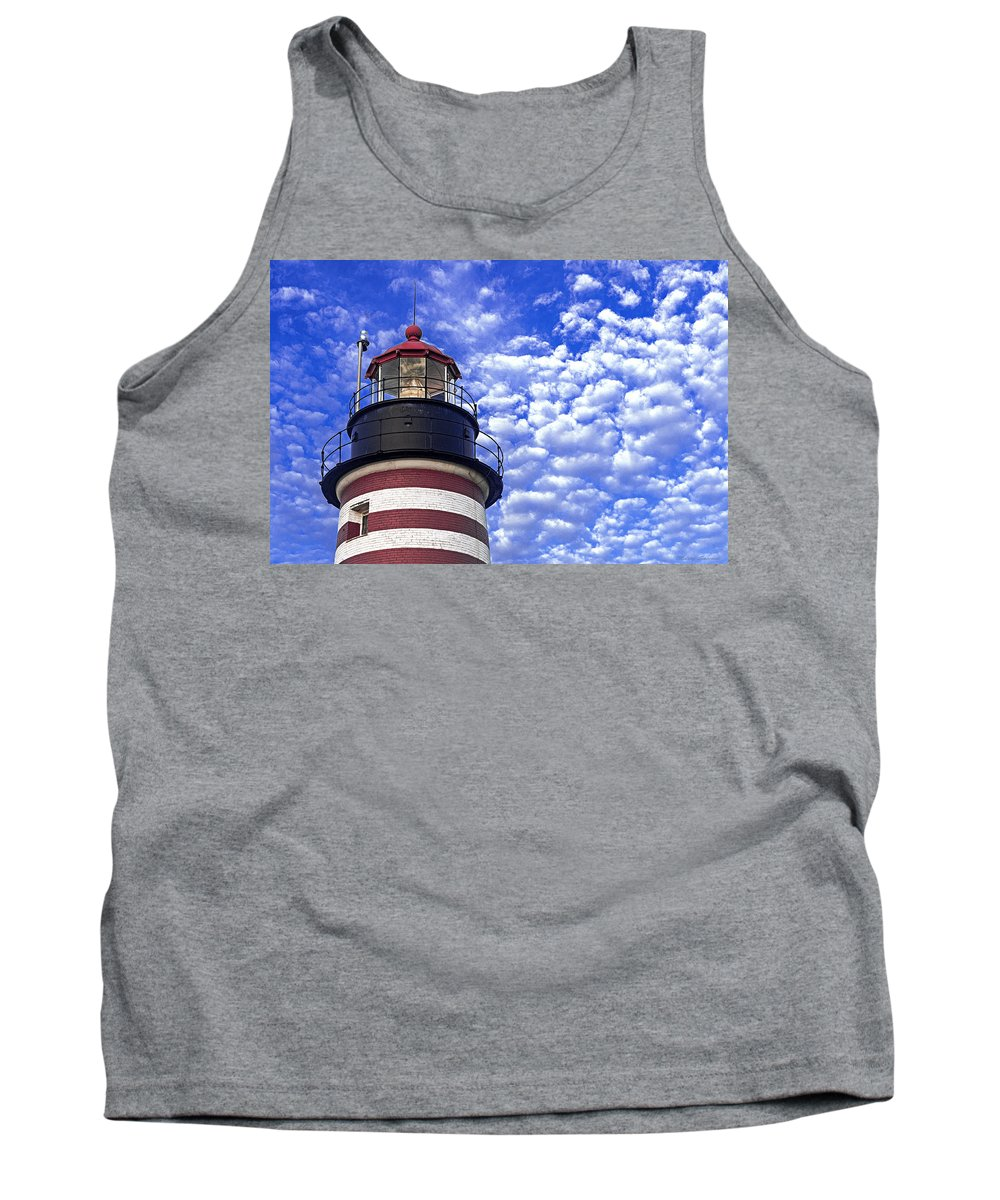 West Quoddy Head Lighthouse Tank Top featuring the photograph Unmistakable In Any Weather - West Quoddy Head Lighthouse by Marty Saccone