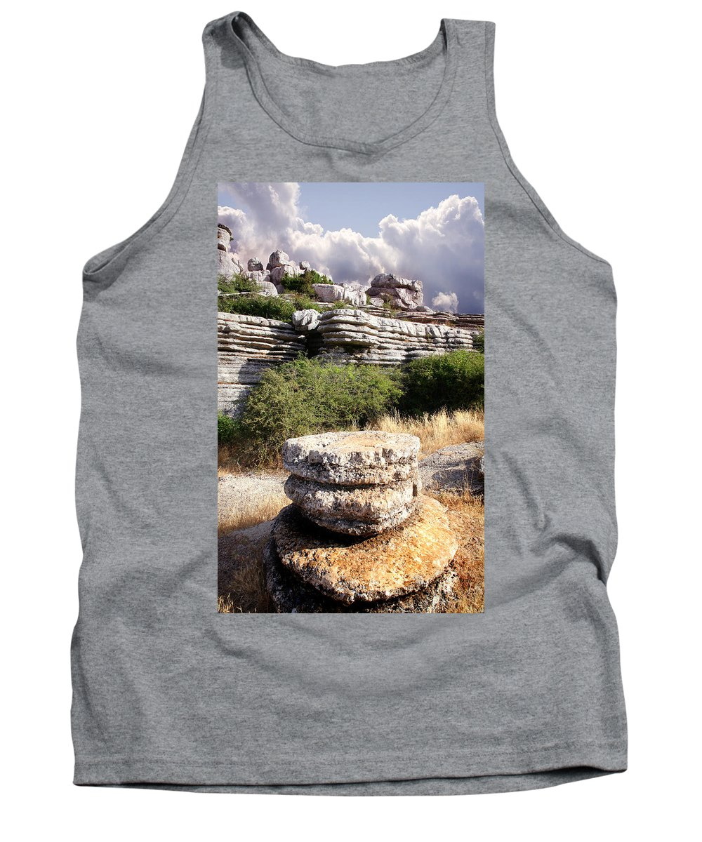 Limestone Tank Top featuring the photograph Unusual Rock Formations In The El Torcal Mountains Near Antequera Spain by Mal Bray