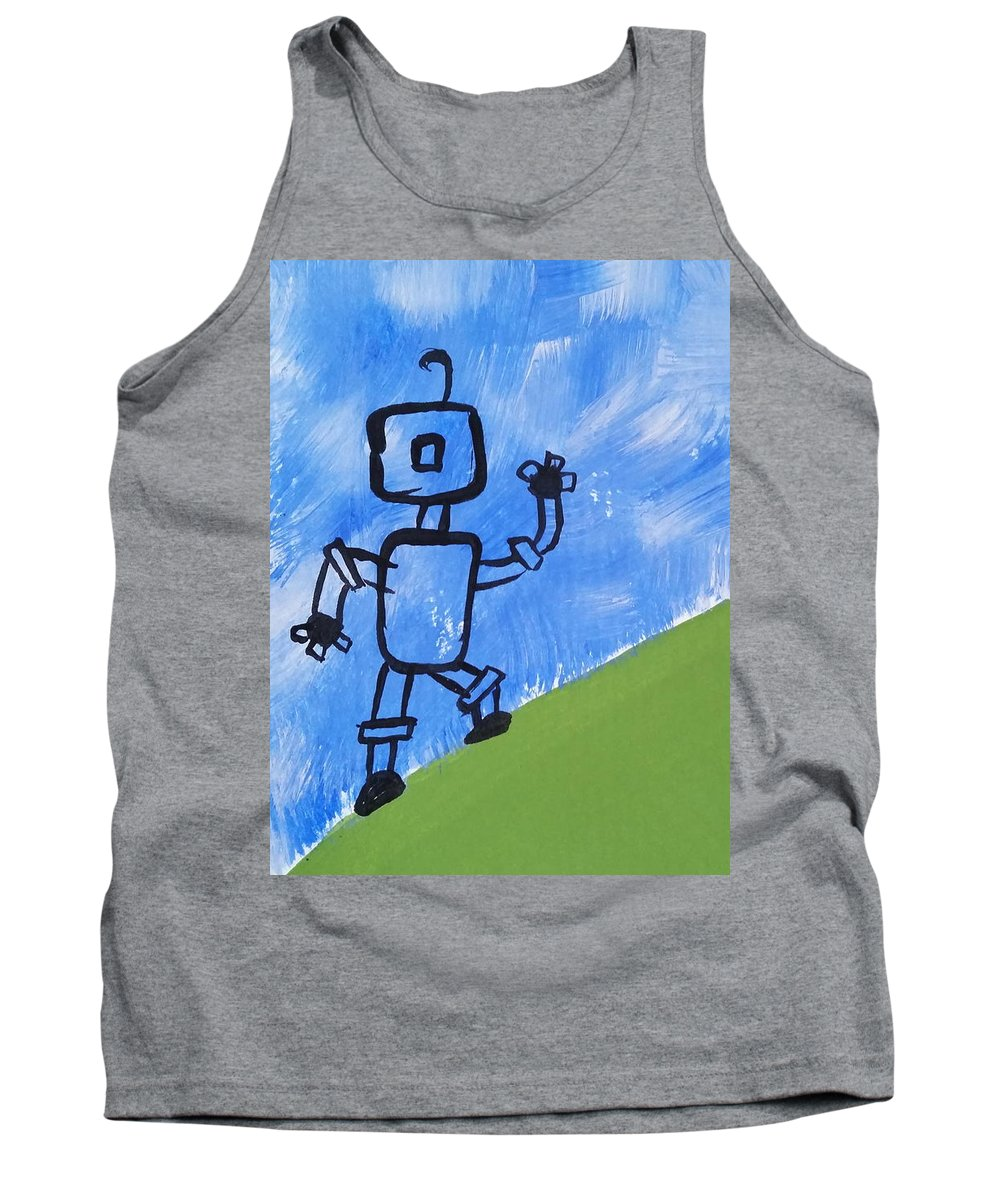 Green Tank Top featuring the painting Up Hill Climb by Kelly Brimberry