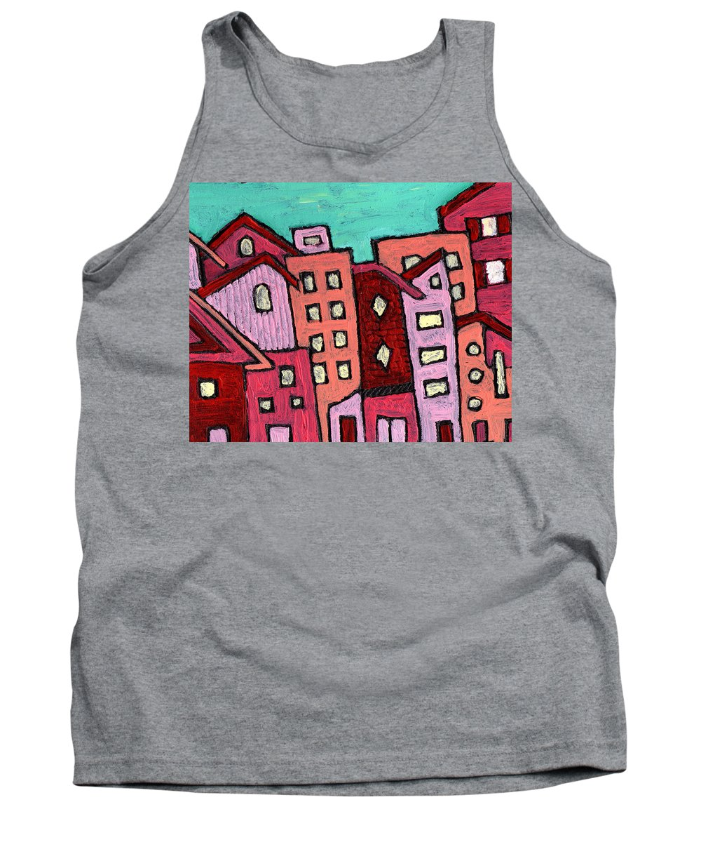 City Scene Tank Top featuring the painting Urban Heat by Wayne Potrafka