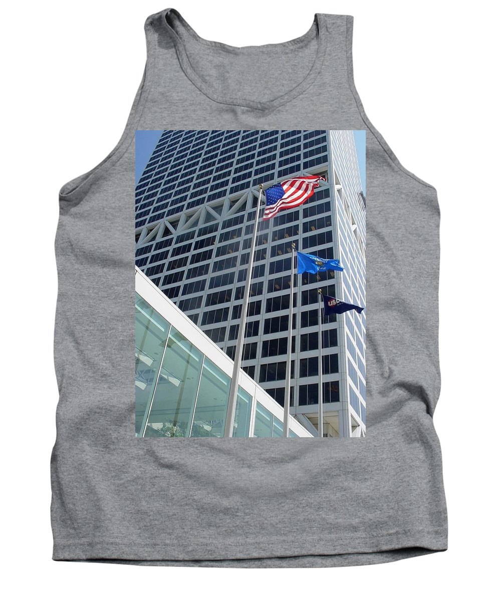 Us Bank Tank Top featuring the photograph Us Bank With Flags by Anita Burgermeister