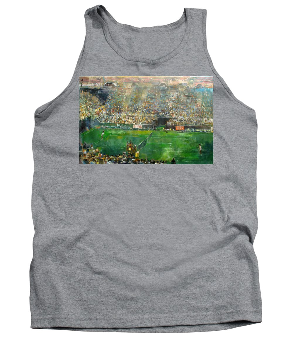 Us Open Tank Top featuring the painting Us Open Tennis Center, New York 72 X48 In. by Hall Groat Sr