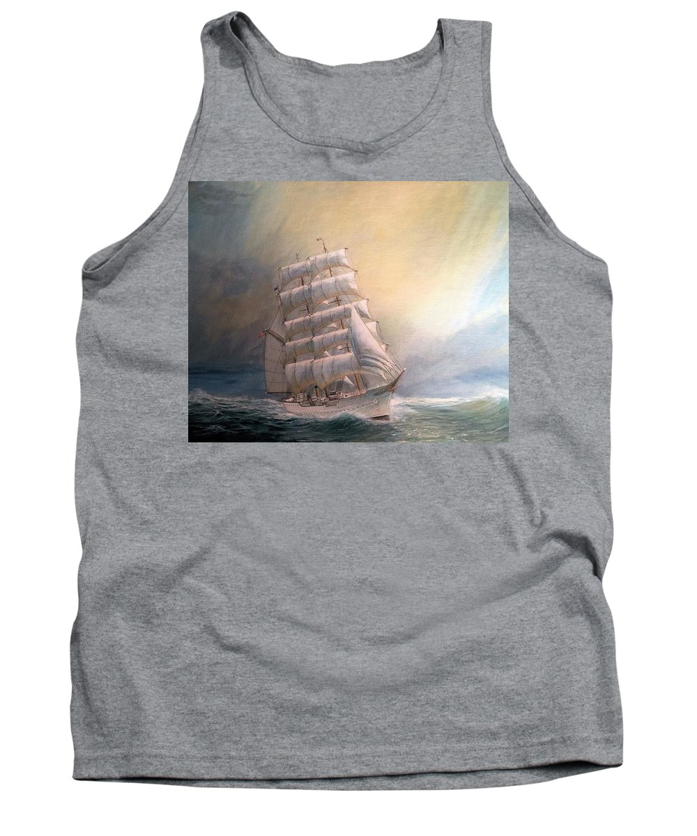 Tall Ships. U. S. Coast Guard Tank Top featuring the painting USCG Barque Before Racing Stripe Logo by William H RaVell III