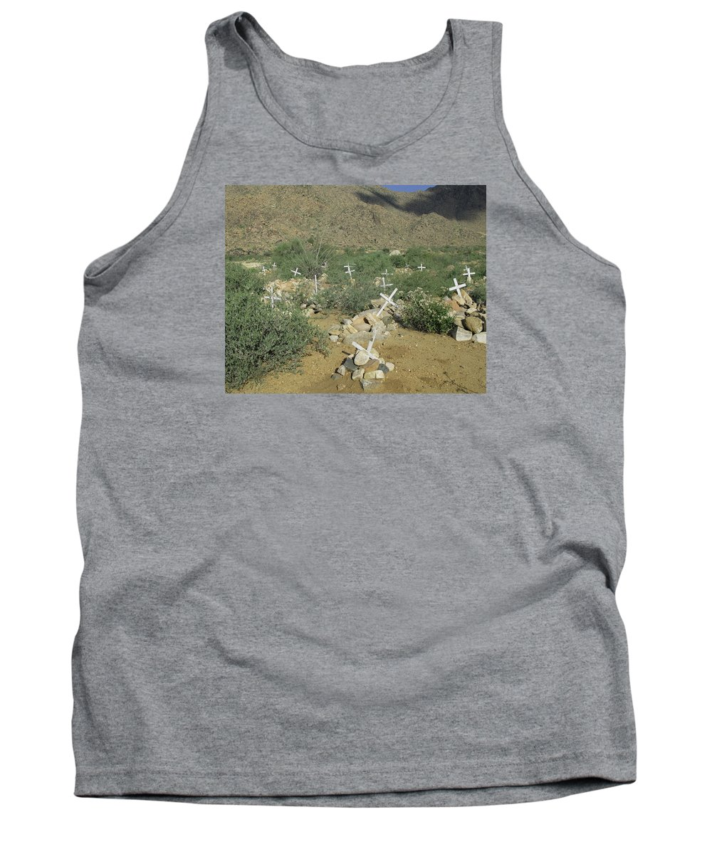 Grave Tank Top featuring the photograph Valley Of Dead Men's Bones by Rachel Knight