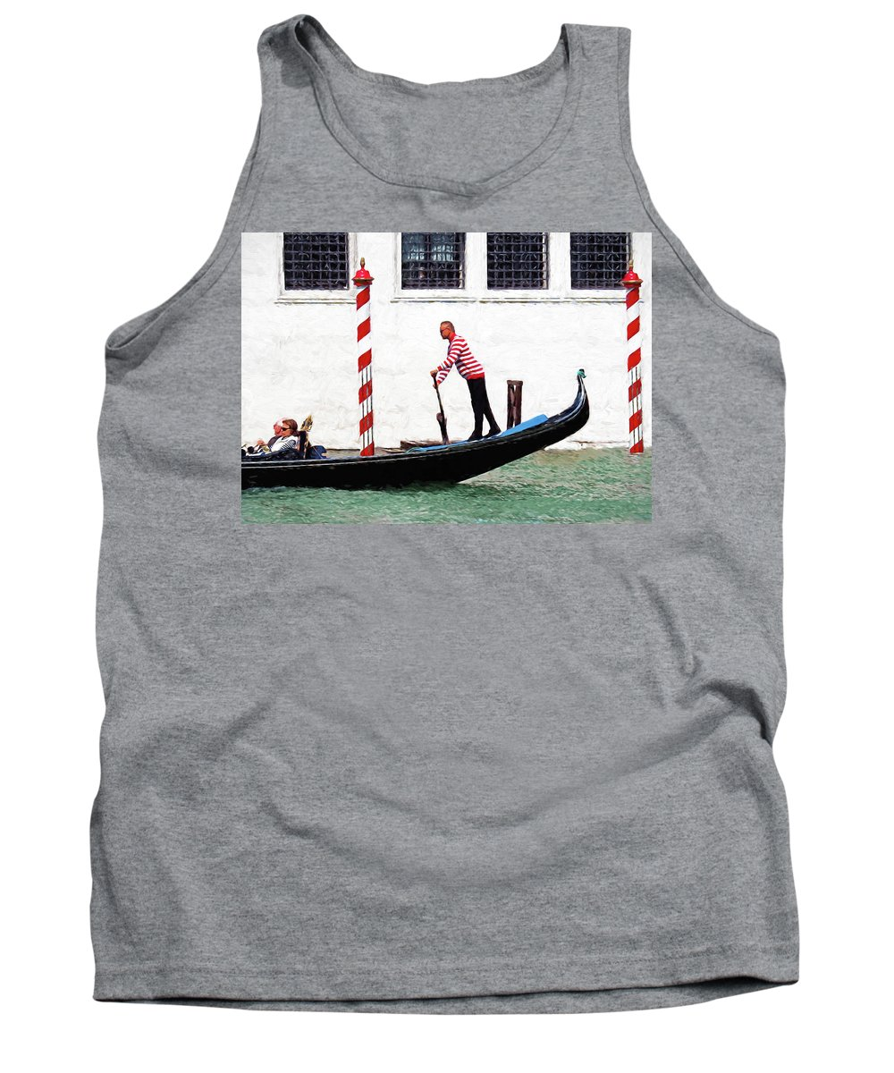 Italy Tank Top featuring the digital art Venice Gondola Series #5 by Dennis Cox