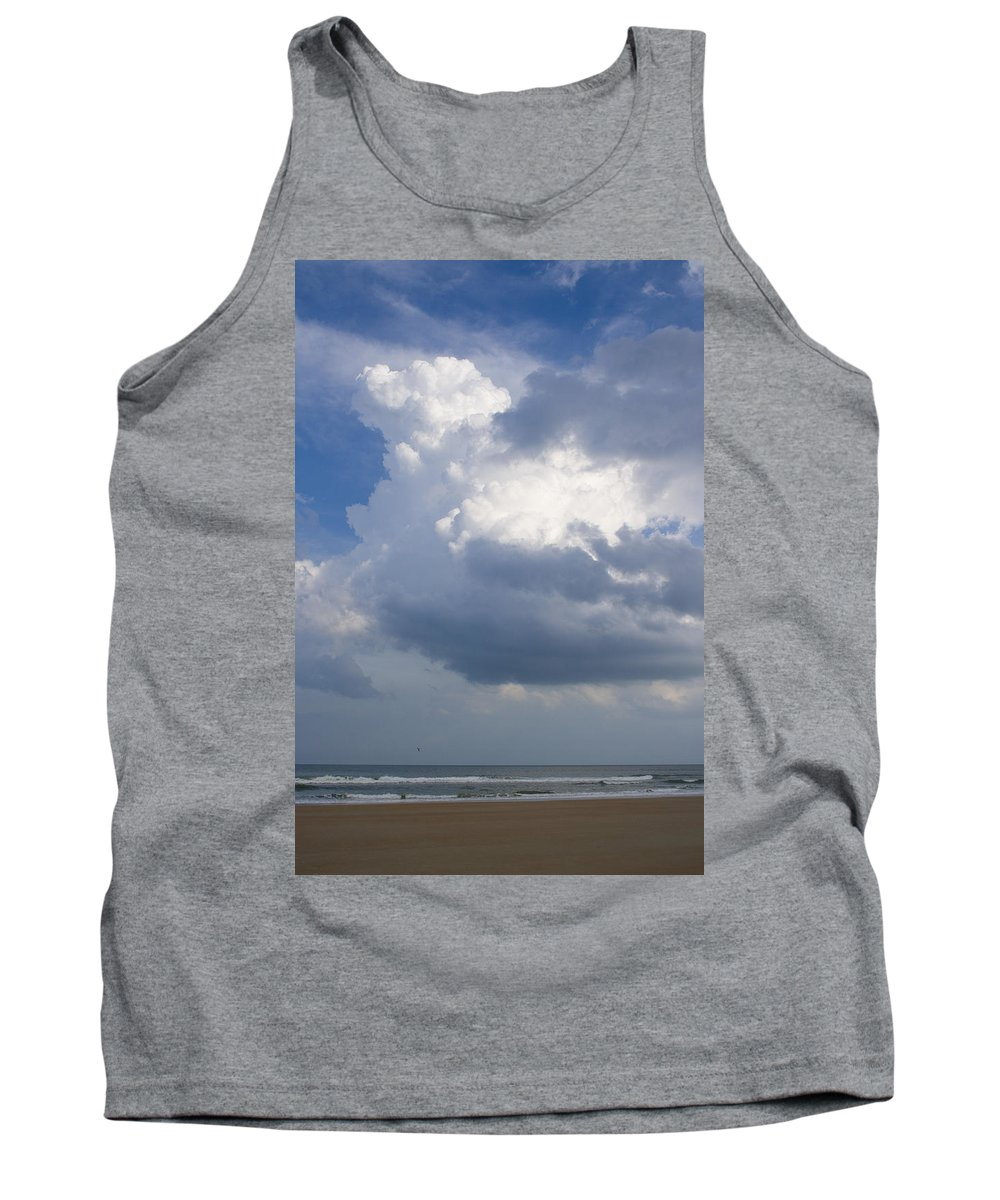 Ocean Nature Beach Sand Wave Water Sky Cloud White Bright Big Sun Sunny Vacation Relax Blue Tank Top featuring the photograph Vessels In The Sky by Andrei Shliakhau