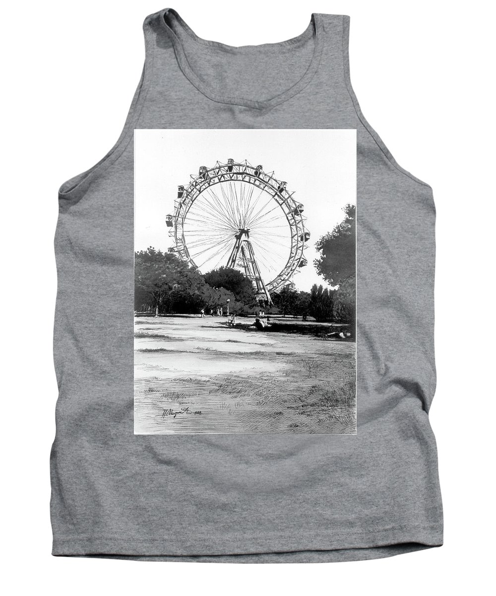 Tank Top featuring the painting Viennese Giant Wheel by Johannes Margreiter