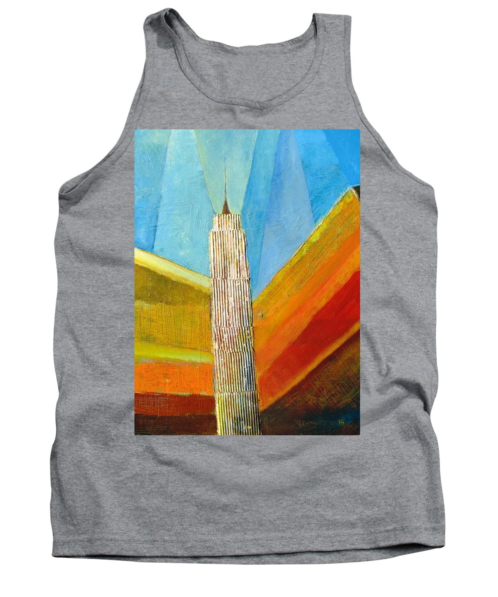 Abstract Cityscape Tank Top featuring the painting View From 34th St by Habib Ayat
