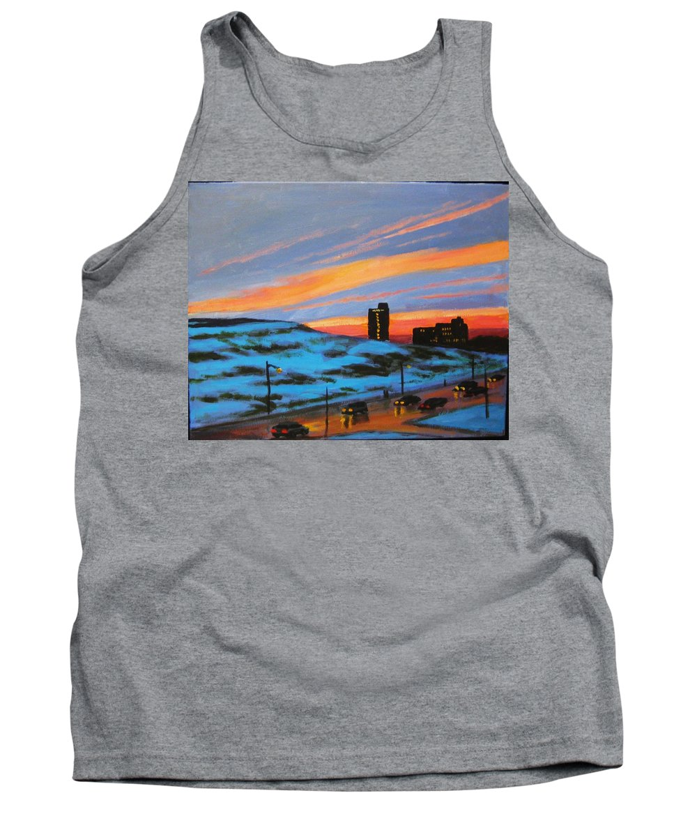 City At Night Tank Top featuring the painting View From My Balcony by John Malone