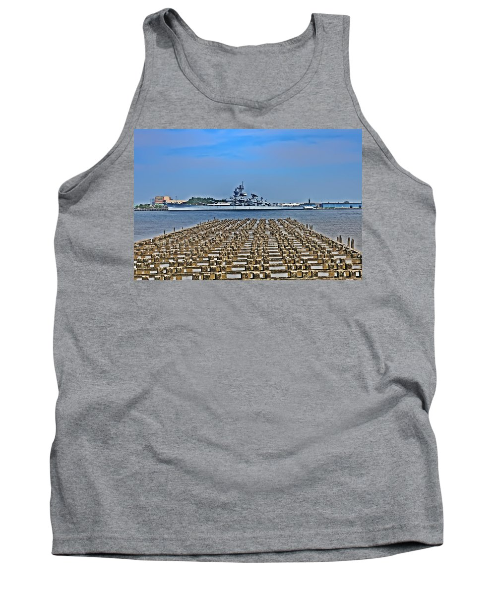 Battleship Tank Top featuring the photograph View Of The Battleship New Jersey From Philadelphia by Bill Cannon