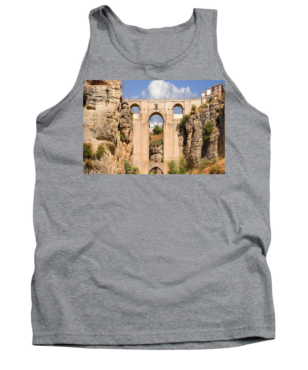 Ronda Tank Top featuring the photograph View Of The Tajo De Ronda And The Puente Nuevo Bridge From Across The Valley by Mal Bray