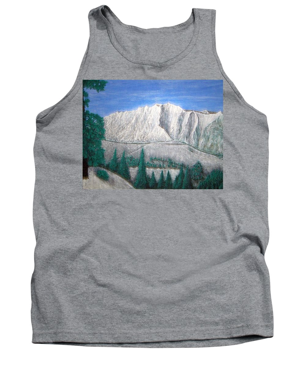 Snow Tank Top featuring the painting Viewfrom Spruces by Michael Cuozzo