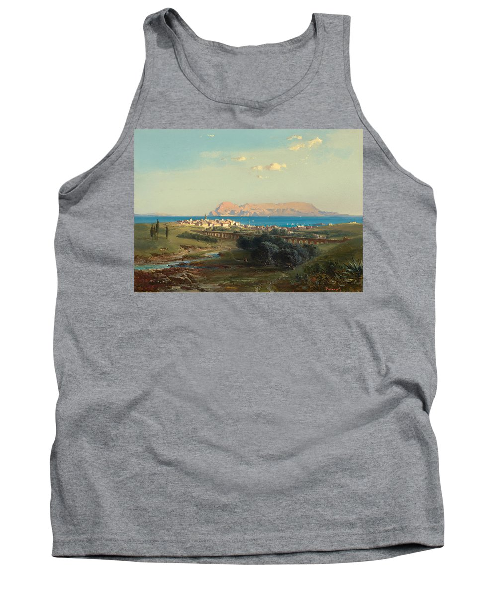 Landscape Tank Top featuring the painting Views Of Algeciras On The Rock Of Gibraltar by Celestial Images