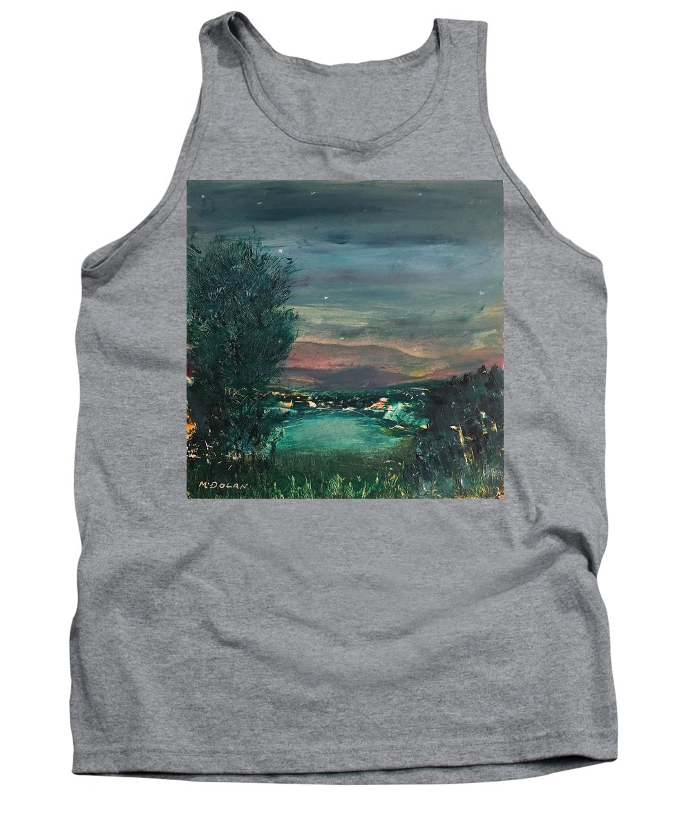 Tank Top featuring the painting Village At Twilight by Martha Dolan