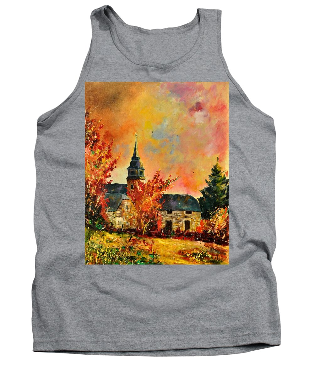 Landscape Tank Top featuring the painting Villers Sur Semois by Pol Ledent