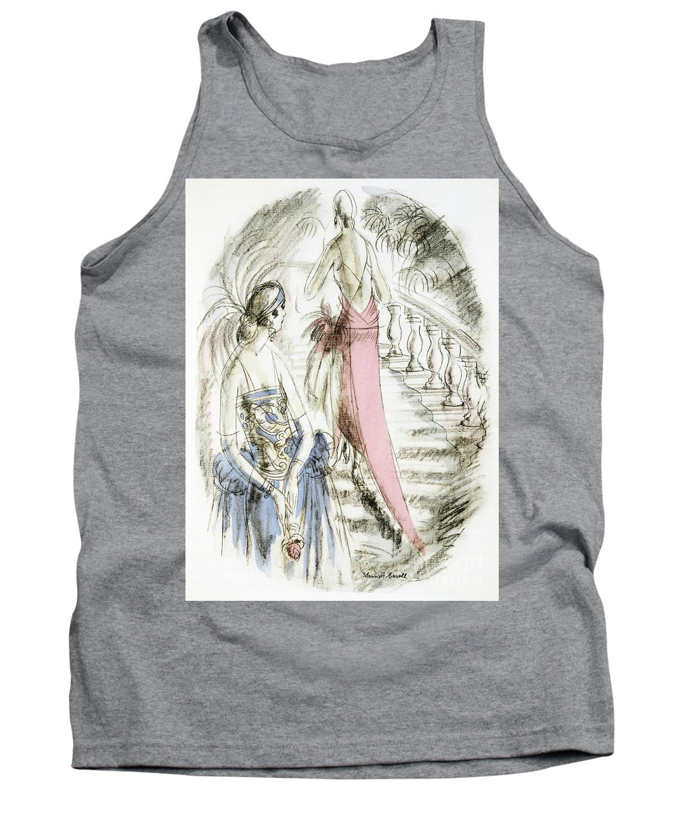 German Tank Top featuring the painting Vintage 1920s Fashion Plate Evening Dresses by German School