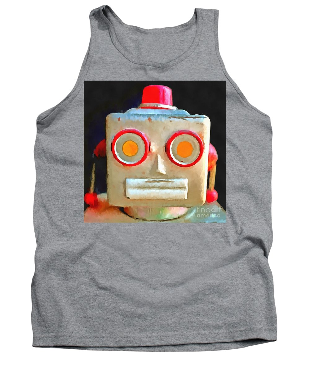 Vintage Tank Top featuring the photograph Vintage Robot Toy Square Pop Art by Edward Fielding