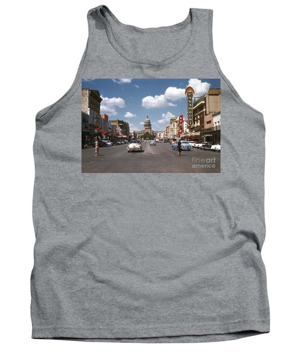 1954 Tank Top featuring the photograph Vintage View Downtown Austin Looking Up Congress Avenue In Front by Austin Welcome Center