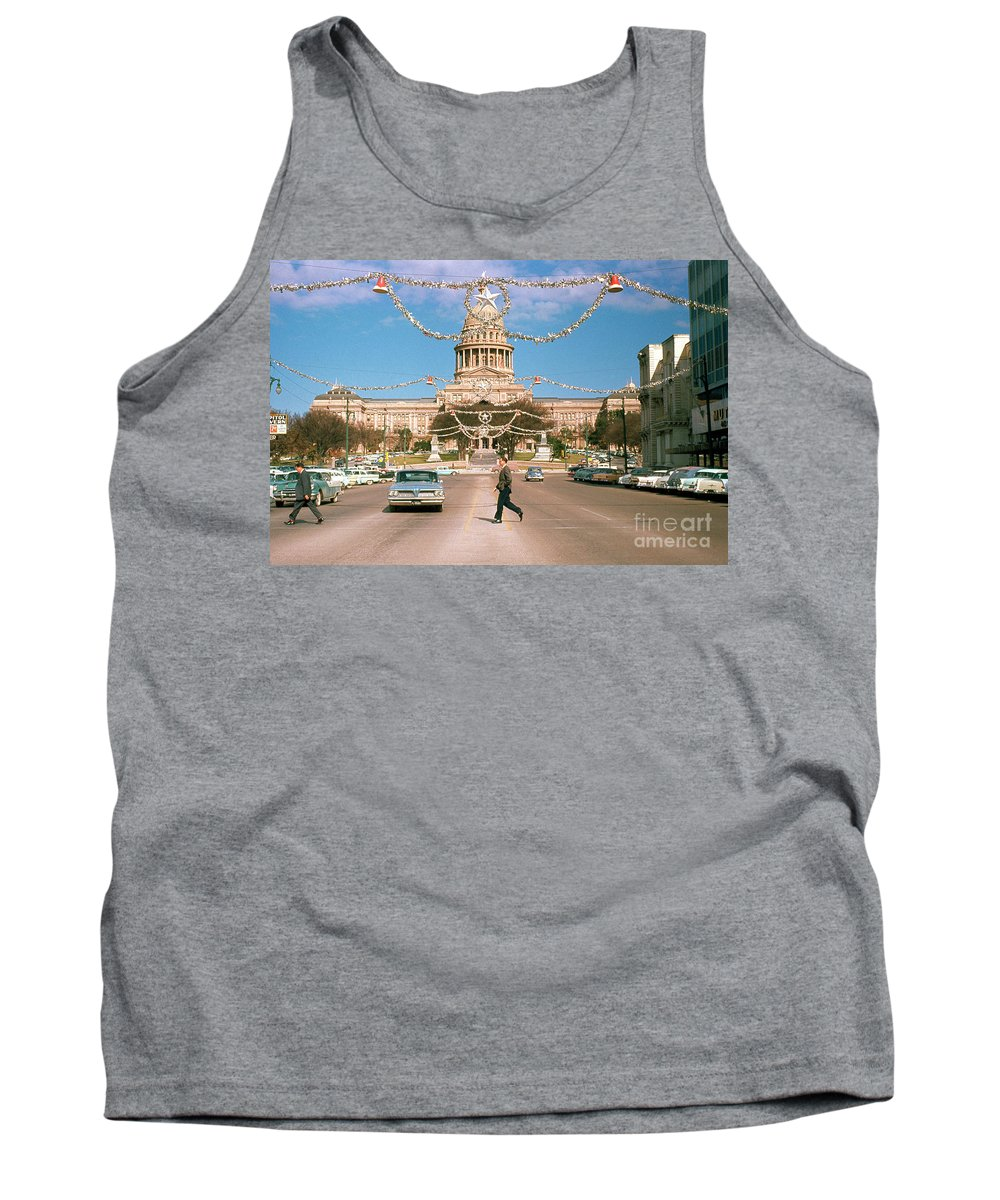 Vintage View Tank Top featuring the photograph Vintage View Of The Texas State Capitol And Christmas Decorations Strung Along Congress Avenue From December 1960 by Austin Welcome Center