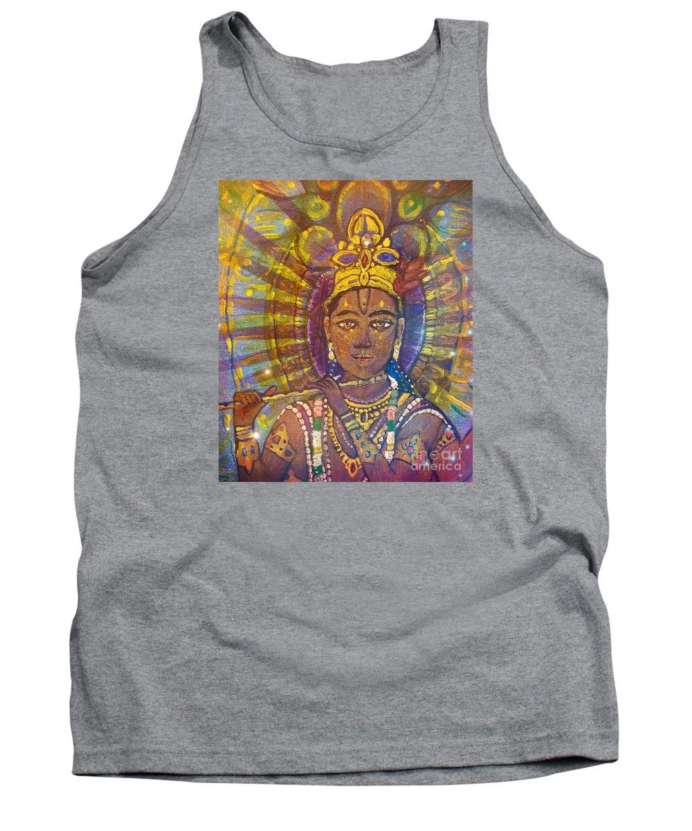 Vishnu Tank Top featuring the painting Vishnu Krishna Face by Michael African Visions