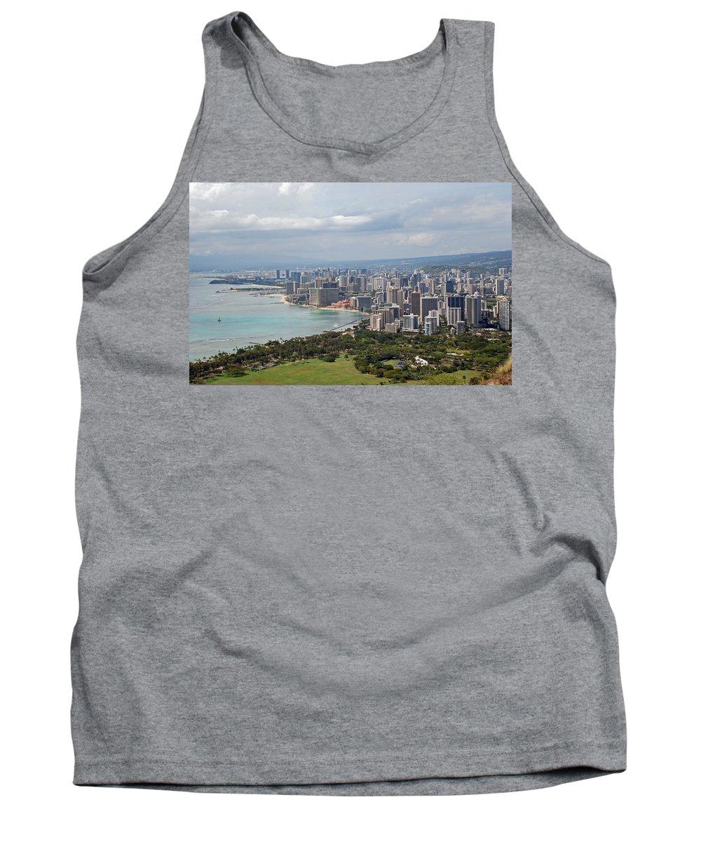 Wakiki Tank Top featuring the photograph Wakiki Beach Hawaii by Carol Eliassen