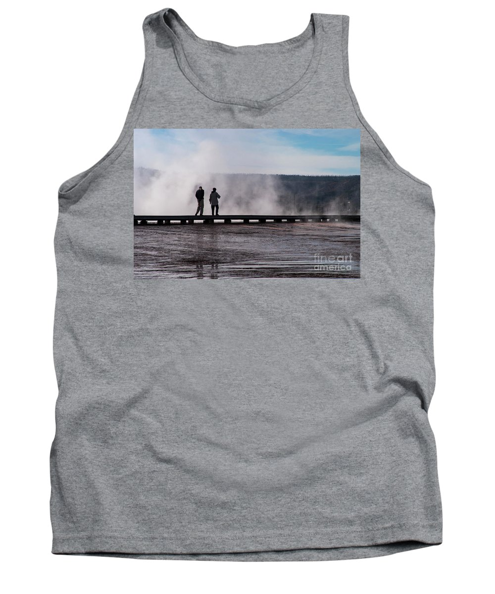 Midway Geyser Basin Tank Top featuring the photograph Walking The Plank by Bob Phillips
