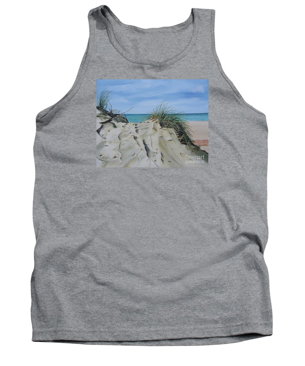 Lake Tank Top featuring the painting Warren Dunes by Mary Rogers